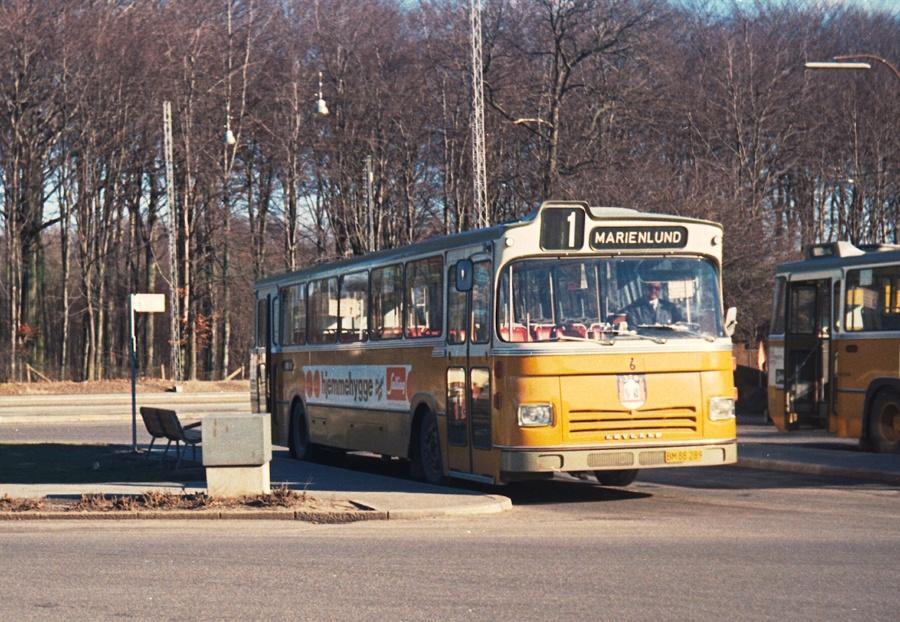 Århus Sporveje 6/BM88289 i Marienlund i Århus den 23. februar 1974