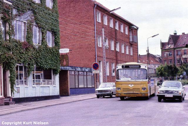 Leyland-bybus fra DSB på Mazantigade i Kolding 1979.