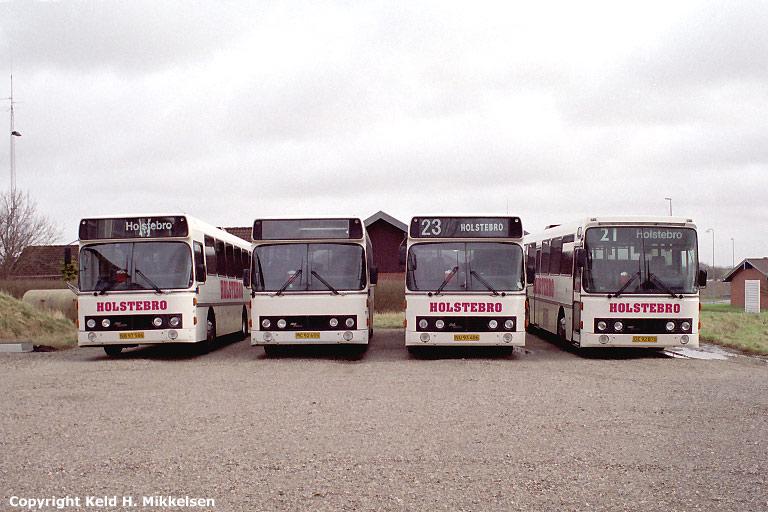 Holstebro Turistbusser 47/NB97586, 34/MC92655, 46/NU93406 og 35/OE92870 i Holstebro den 10. marts 2007