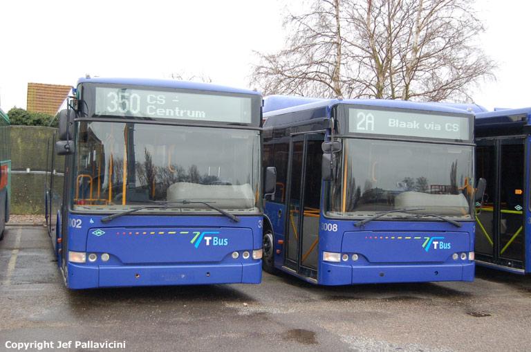 T-Bus 3002 og 3008 i Maribo den 9. januar 2008