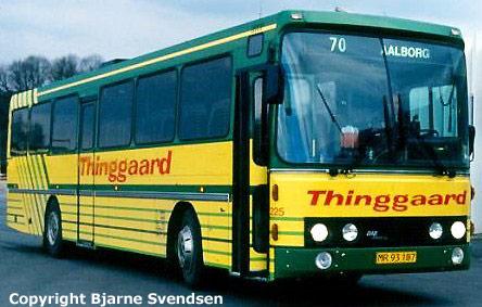 Thinggaard 225/MR93187 på Aalborg rutebilstation i marts 1995
