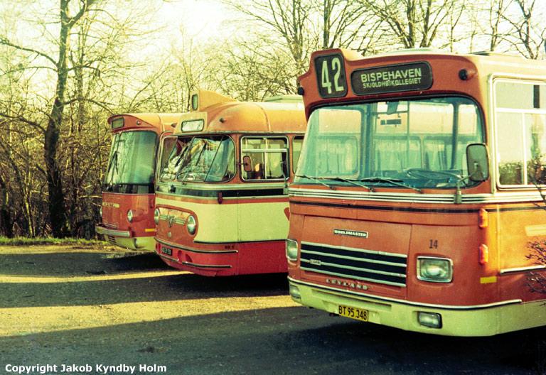 Strandgaards Rutebiler 1/BY96299, 6/AD29380 og 14/BT95348 ved garagen i Brabrand den 1. februar 1975