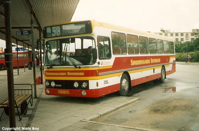 Søndergaards Rutebiler 84/KX97484 på Randers rtb. den 6. juli 1990