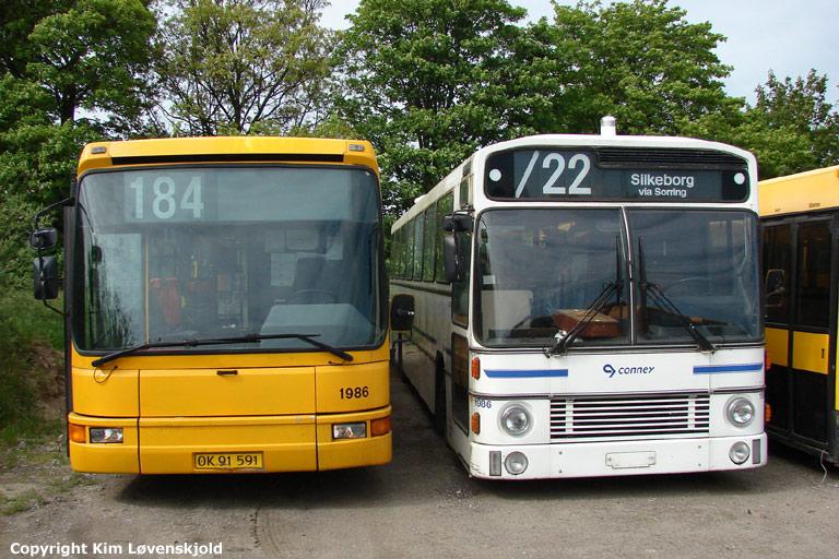 Arriva 1986/OK91591 og Connex 1986 i Roskilde den 24. juli 2007