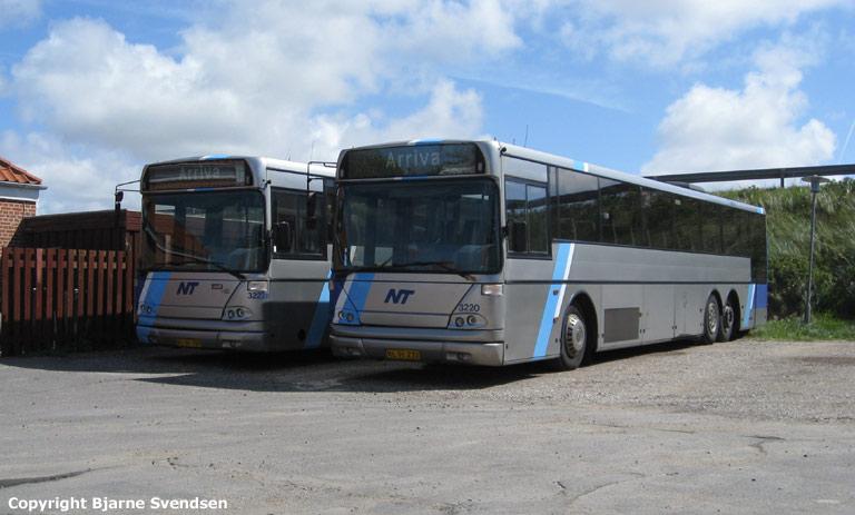 Arriva 3222/RL91197 og 3220/RL91232 i garagen i Løkken den 9. august 2008