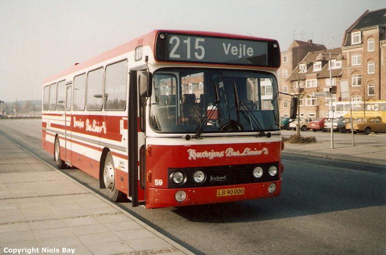 Hærvejens Bus Linier 59/LB90000 ved Silkeborg st. den 28. oktober 1989