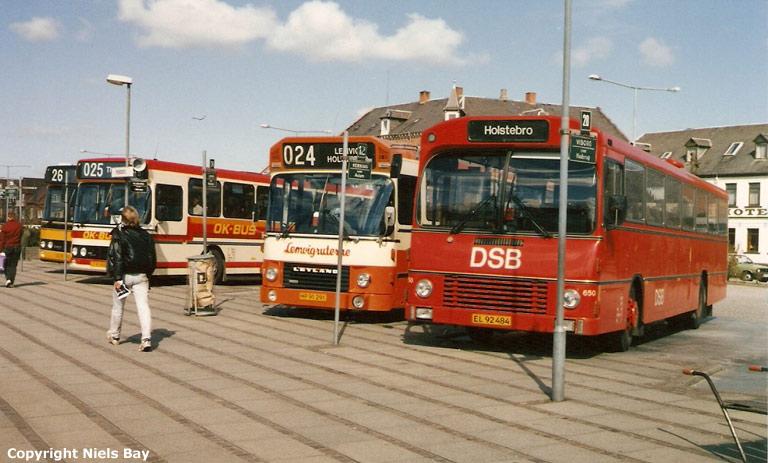 DSB 650/EL92484 og Lemvigruterne E17/HP91291 på Holstebro rtb. i april 1989