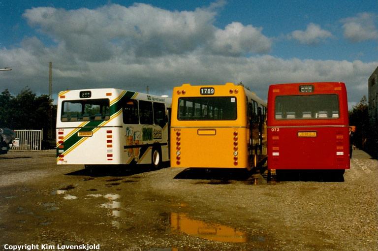 DSB 074/LC96221, HT 1789 og DSB 072/LC96213 ved Aabenraa Karrosserifabrik i september 1987