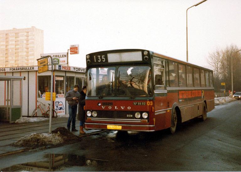 Hvidovre Rutebiler 03/HK93578 ved Brøndbyøster st. i 1987