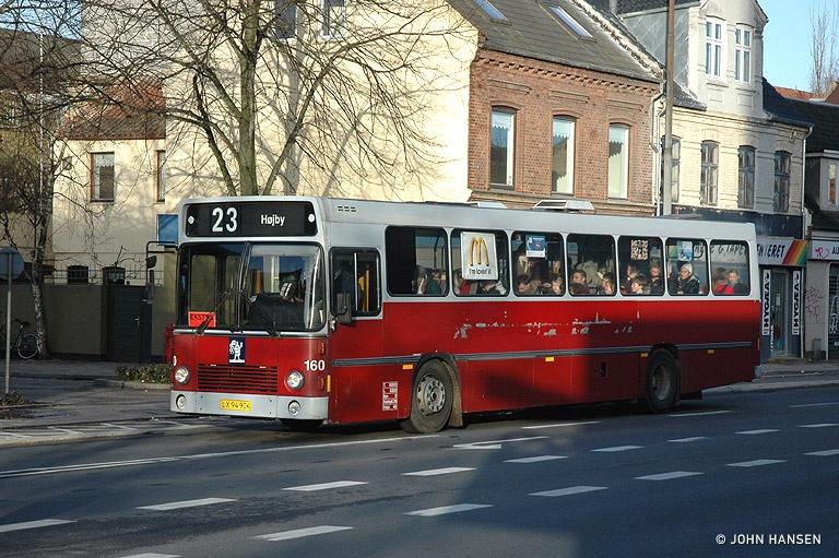 Odense Bybusser 160/LX94904 på Albanigade i Odense den 19. marts 2007