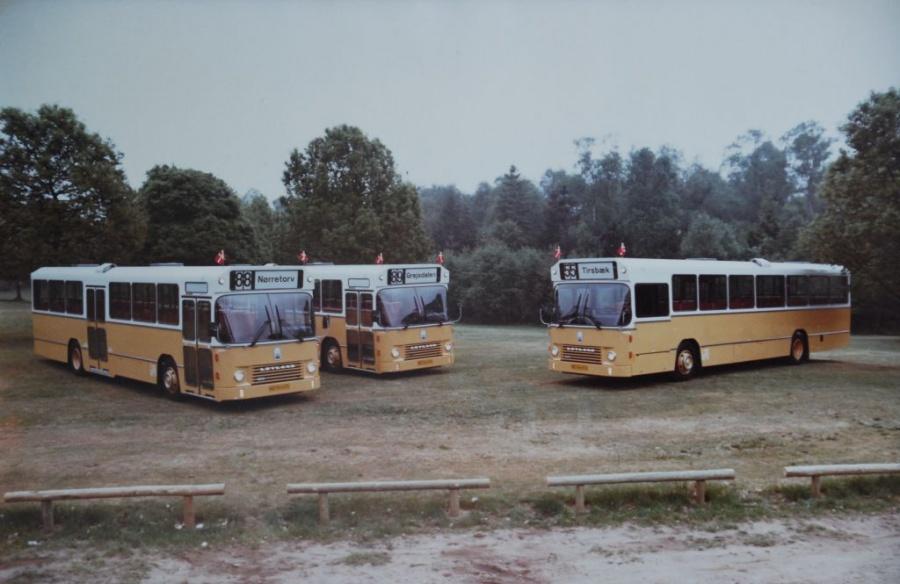 Vejle Bustrafik 18/HD 94474, 19/HD94475 og 20/HD94476 kort før leveringen i 1980