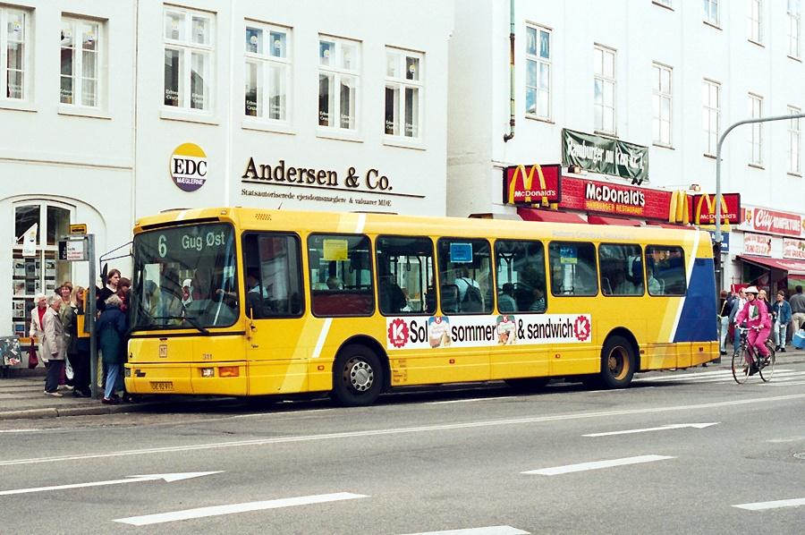 Aalborg Omnibus Selskab 311/OE92917 på Østerågade den 24. juni 1997