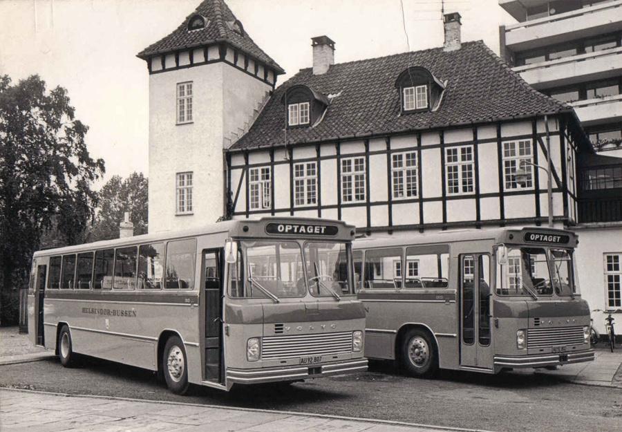 Helsingør-Bussen 16/AU92807 og 15/AU92802 ved Grønnehave st. i Helsingør