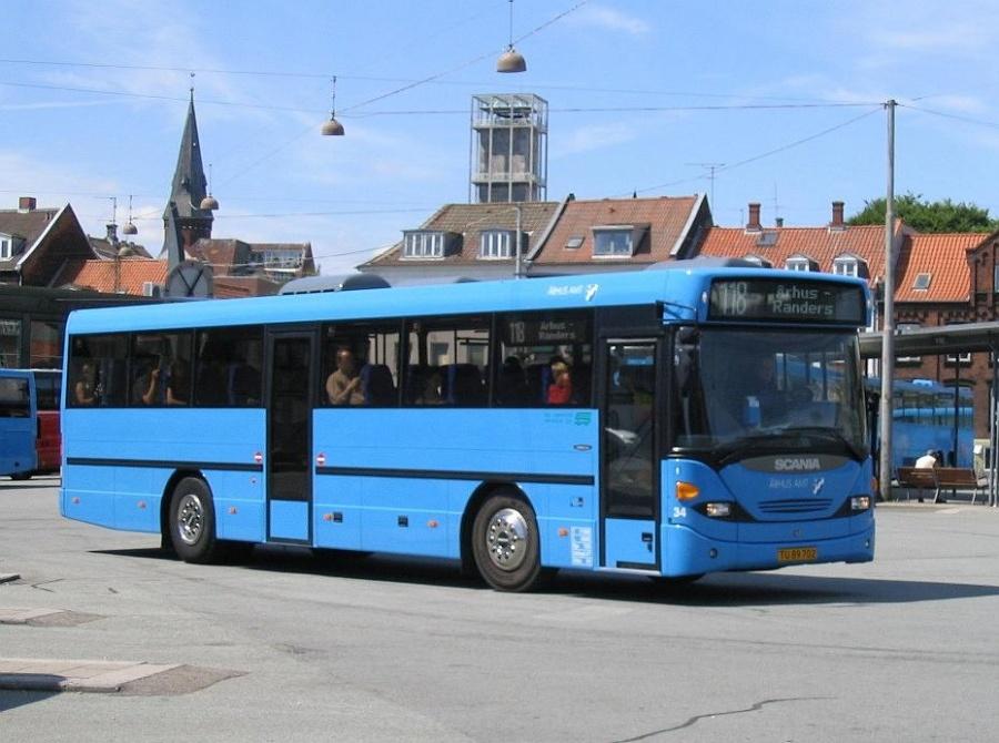 De Grønne Busser 34/TU89702 på Årrhus Rutebilstation den 1. juli 2005