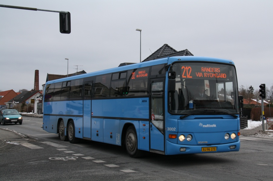 Arriva 3002/XJ96173 i Auning den 28. februar 2011