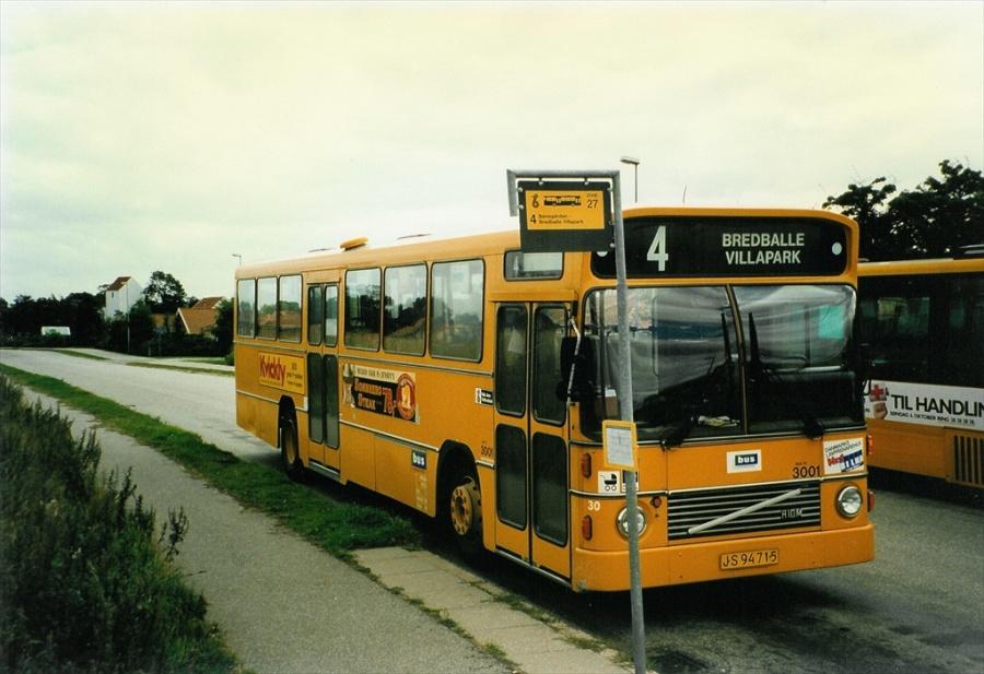 Bus Danmark 3001/JS94715 på Carl Nielsensvej i Vejle i august 1996