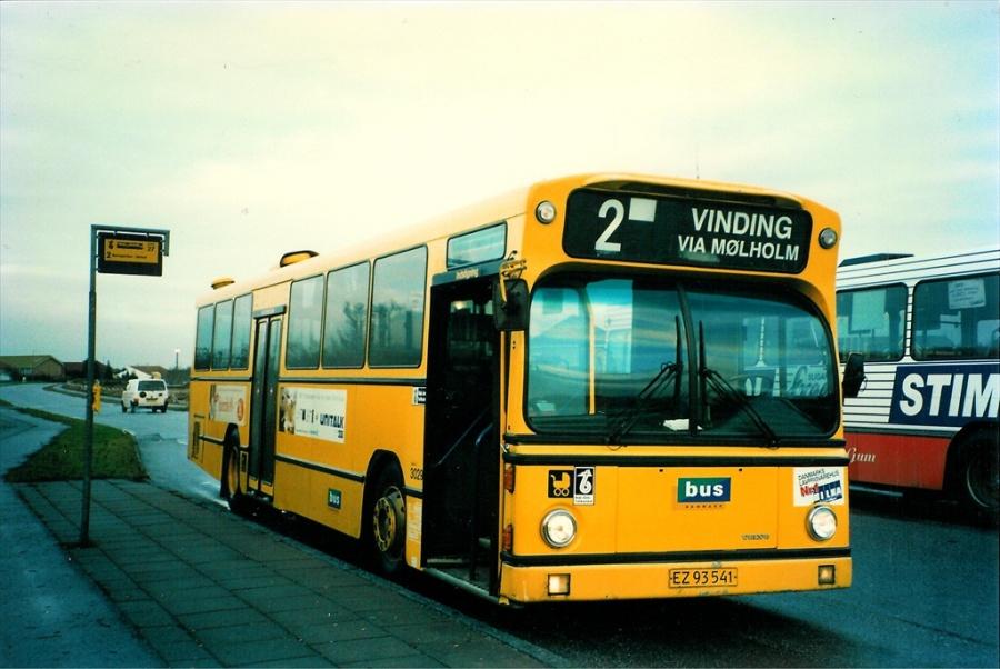 Bus Danmark 3029/EZ93541 på Carl Nielsensvej i Vejle den 6. januar 1998