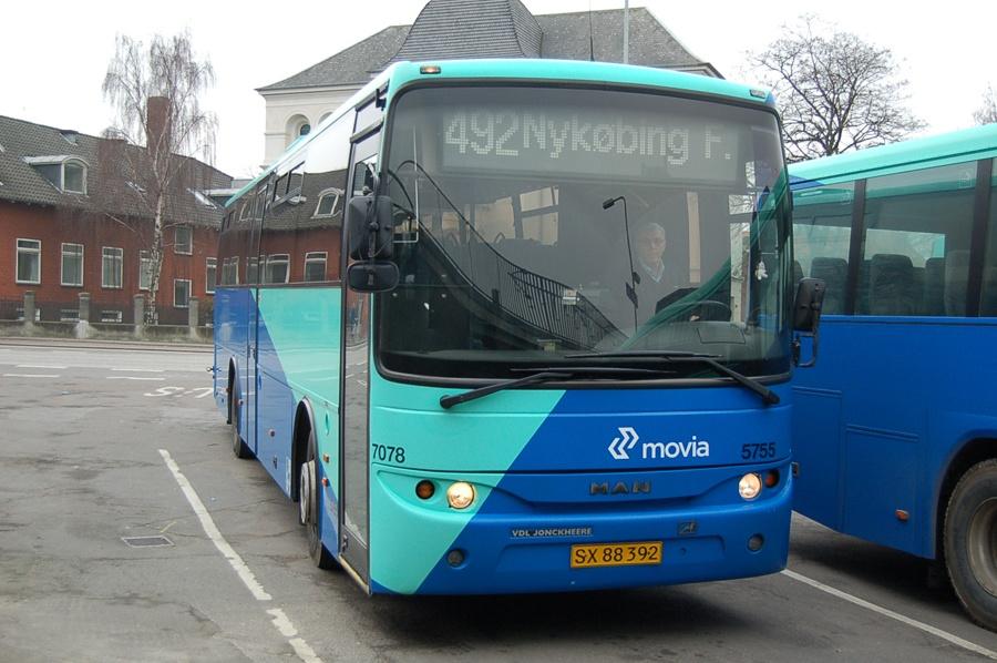 Arriva 5755/SX88392 i Nykøbing F. den 8. februar 2008