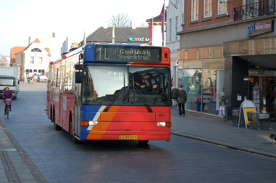 City-Trafik 611/SJ89599 på Boulevarden i Aalborg den 13. februar 2008
