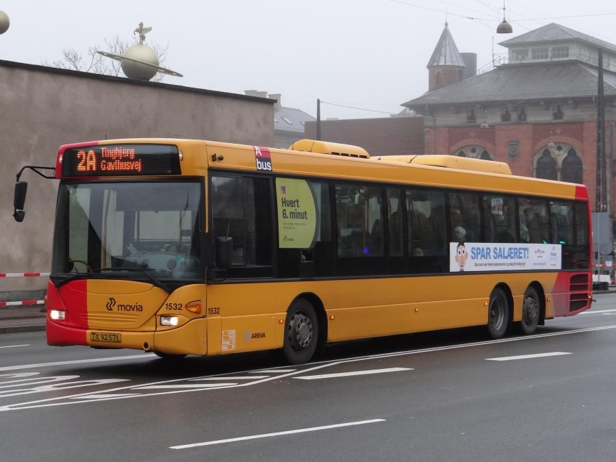Arriva 1532/TX92571 i Bernstorffsgade i København den 14. januar 2014