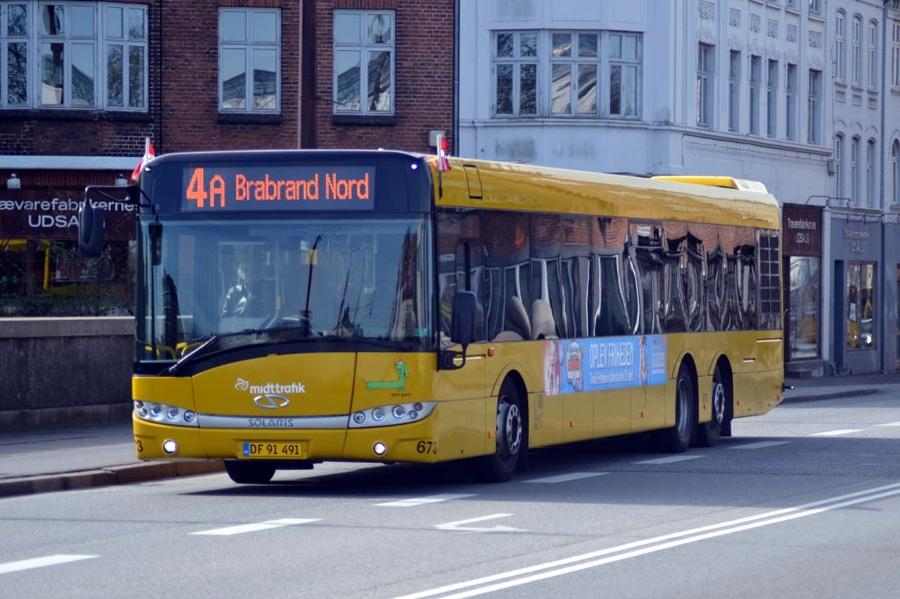Århus Sporveje 673/DF91491 på Frederiks Allé i Århus den 16. april 2014