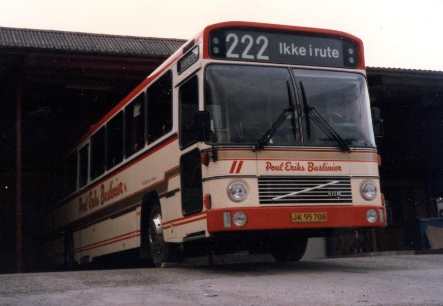 Poul Eriks Buslinier JK95708 i Hadsten i sommeren 1985