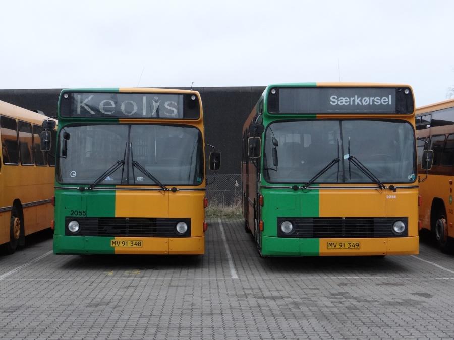 Keolis 2055/MV91348 og Keolis 2056/MV91349 i garagen på Industriholmen i Avedøre den 17. december 2014