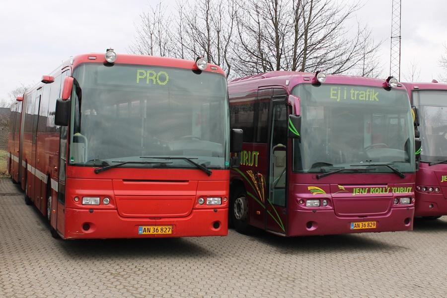 Dyssells Busser AN36827 og Jens Kolls Turist AN36829 i Glostrup den 31. januar 2015