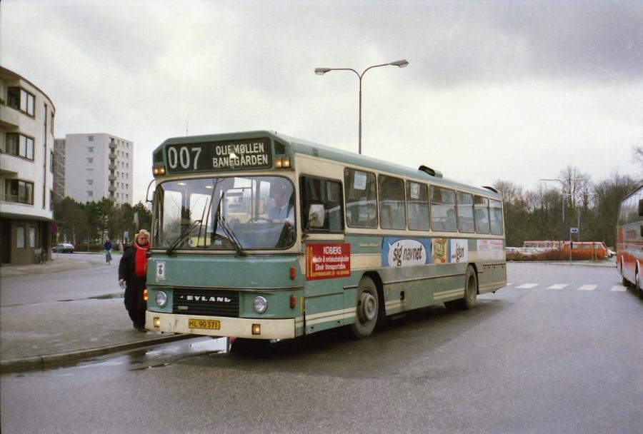 Fredericia Omnibusser HL90371 ved Fredericia banegård i februar 1988