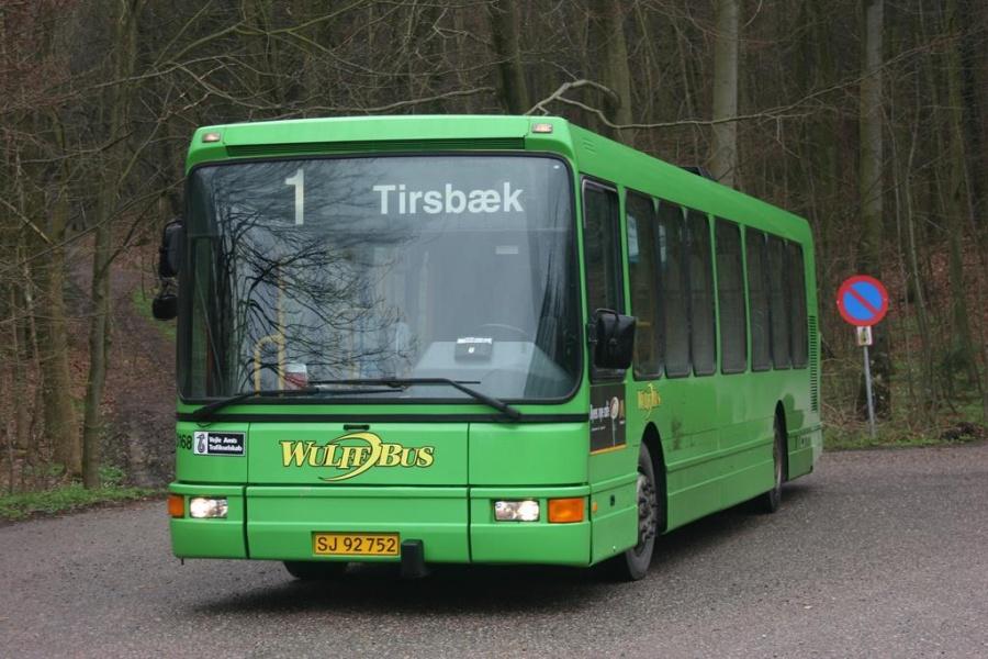 Wulff Bus 3168/SJ92752 i Tirsbæk ved Vejle den 14. april 2005