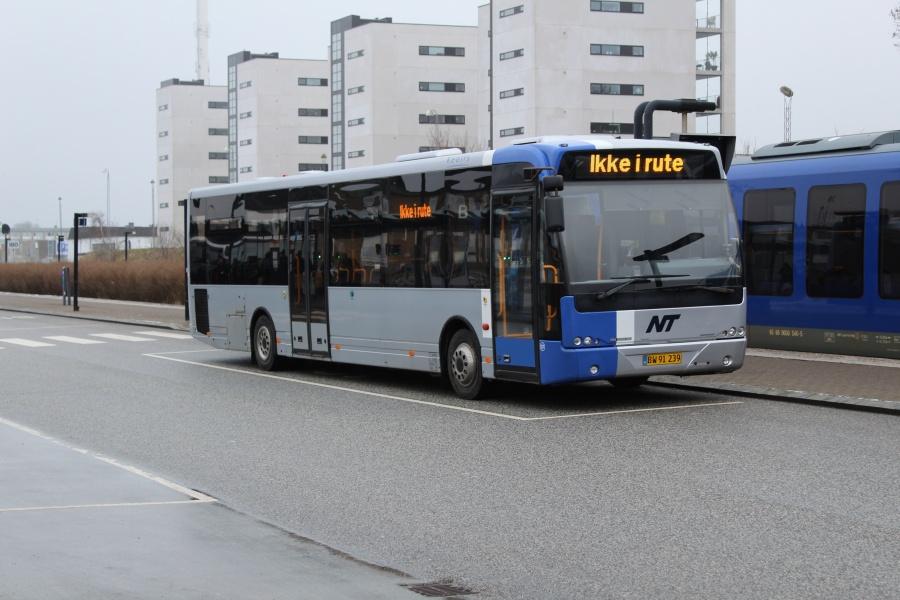 Keolis 227/BW91239 på stationsområdet i Hjørring den 19. januar 2018