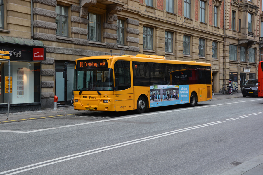 Arriva 1034/XN90755 på Vester Voldgade i København den 21. april 2017