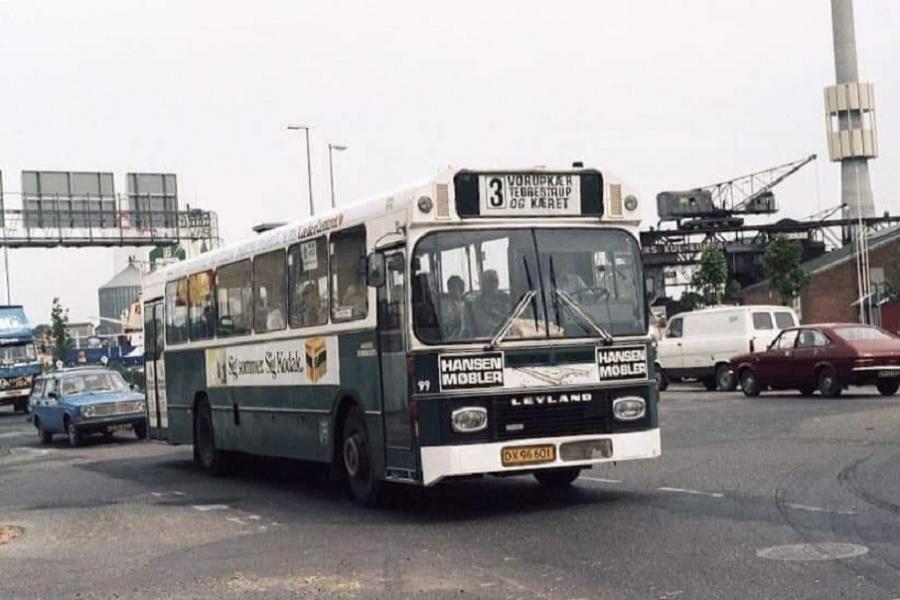 Randers Byomnibusser 99/DX96601 i Havnegade i Randers i første halvdel af 1980erne