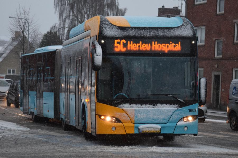 Arriva 1603/BJ57783 på Saltværksvej i Tårnby den 21. januar 2019