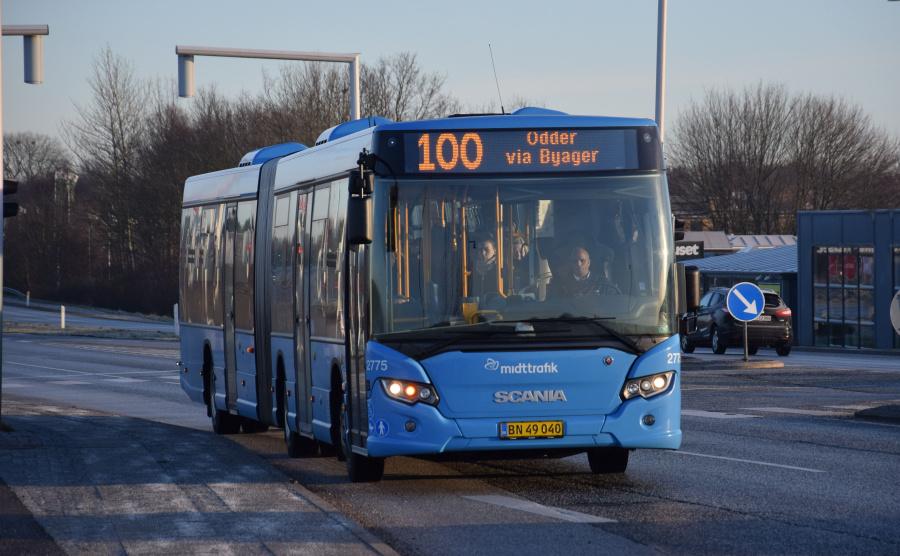 Arriva 2775/BN49040 på Grenåvej iSkæring den 29. januar 2019