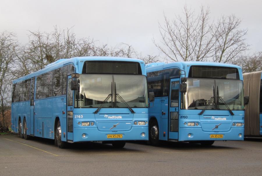 Arriva 2763/VH95097 og 2760/VH95056 i garagen i Hornslet den 31. december 2018