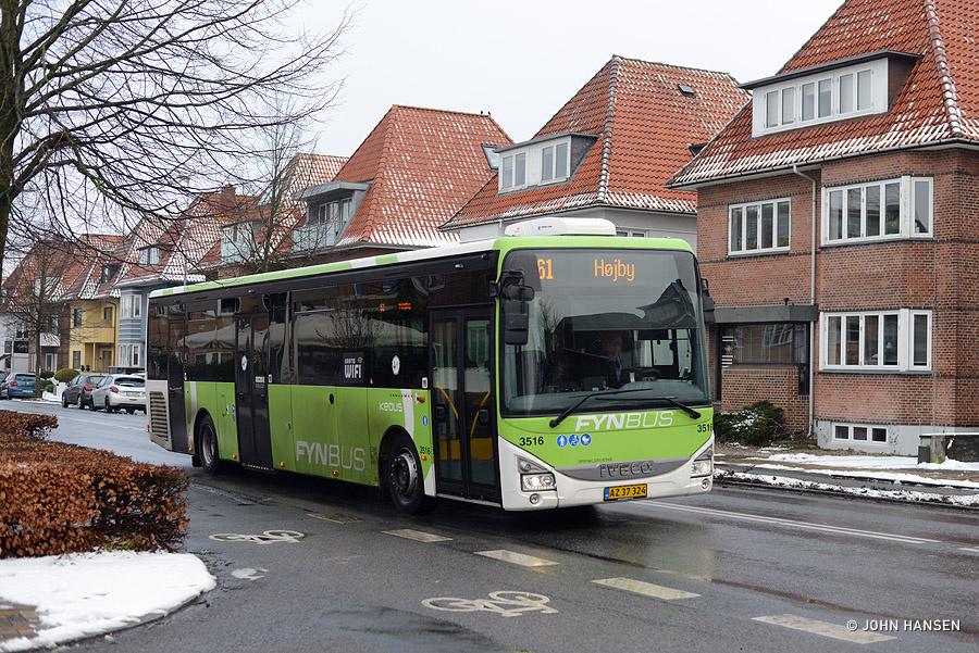 Keolis 3516/AZ37324 på Hjallesevej i Odense den 26. januar 2019