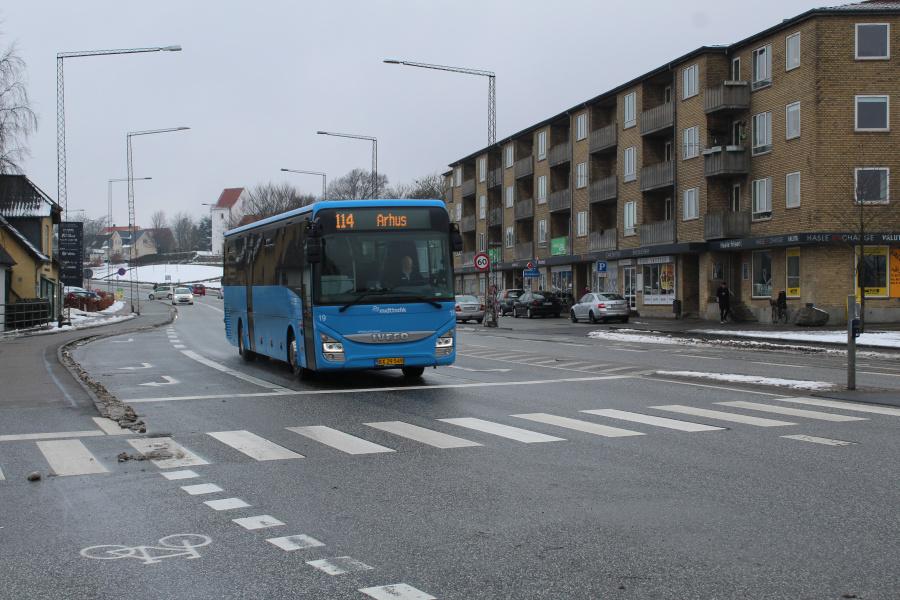 De Grønne Busser 19/BX29549 på Viborgvej ved Hasle Torv i Århus den 8. marts 2018