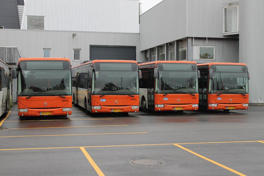 Lokalbus 9405/CM24153, 9404/CM24152, 9408/CL50055 og 9406/CM24154 på Kanalholmen i Hvidovre den 16. oktober 2019