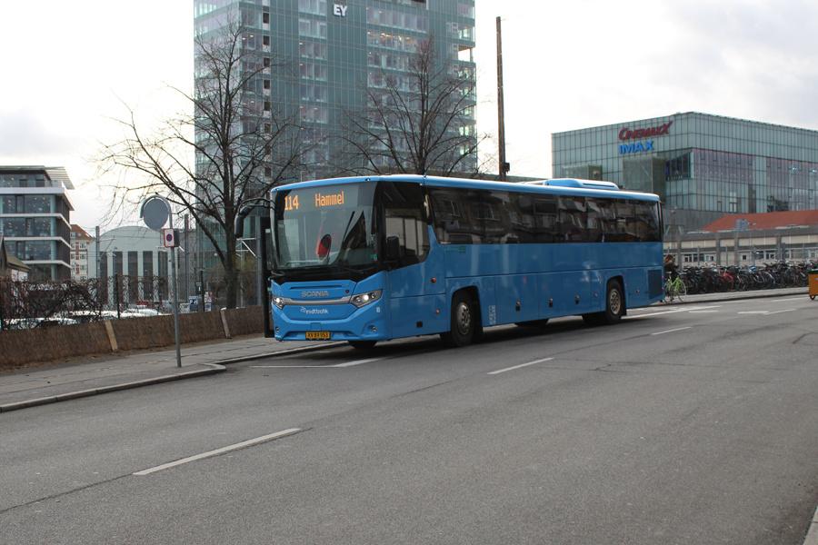 De Grønne Busser 8/XV89953 i Ny Banegårdsgade i Århus den 5. december 2019