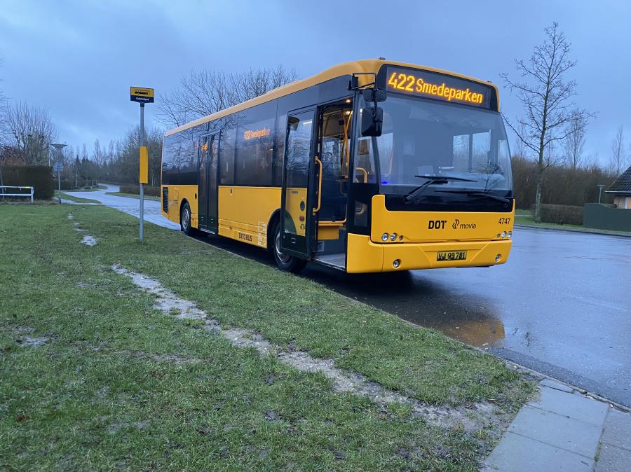 Ditobus 4747/VJ95781 i Storkens Kvarter nær Sorø den 3. februar 2020