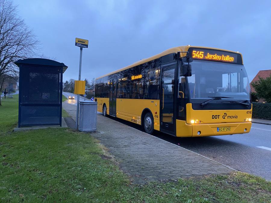Ditobus 4740/AG97292 på Bygaden i Jerslev den 16. december 2019