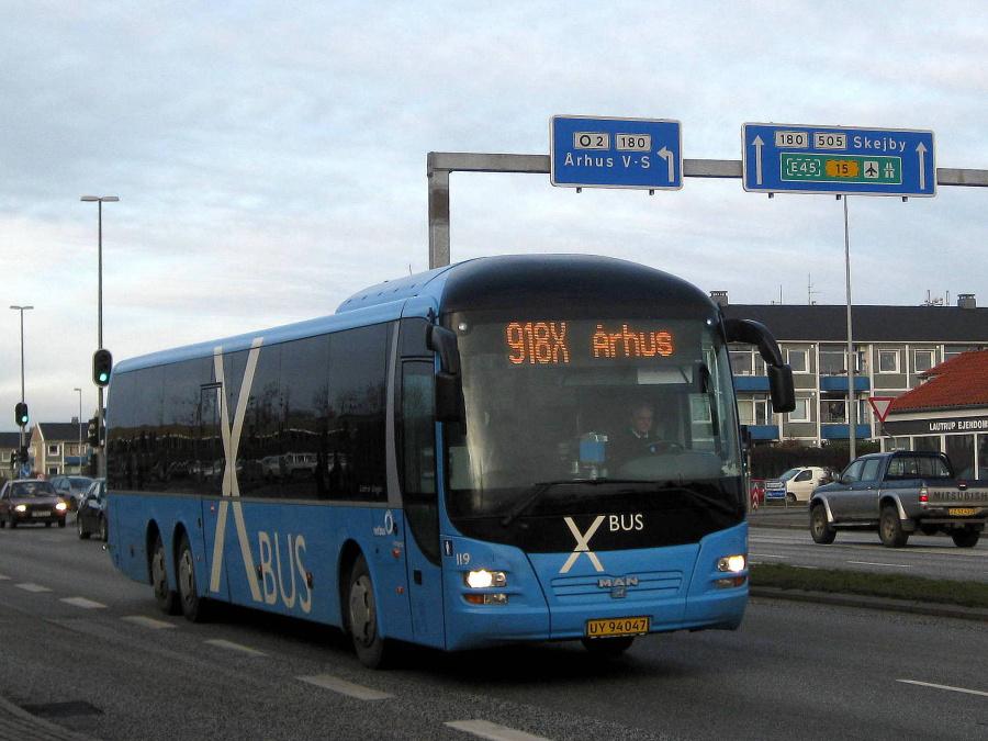 Netbus 119/UY94047 på Randersvej i Århus den 23. december 2008