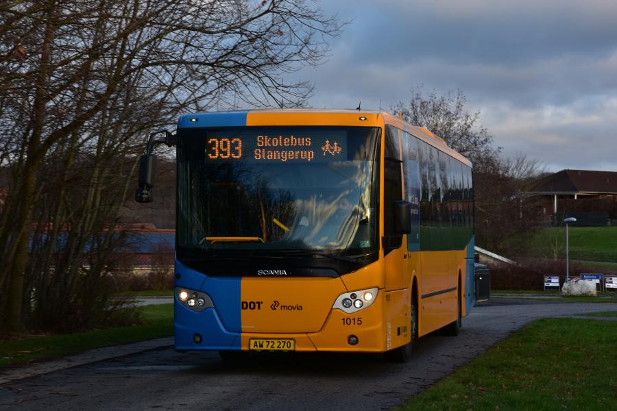 Arriva 1015/AW72270 i sløjfen på Lystrupvej i Slangerup den 9. januar 2019