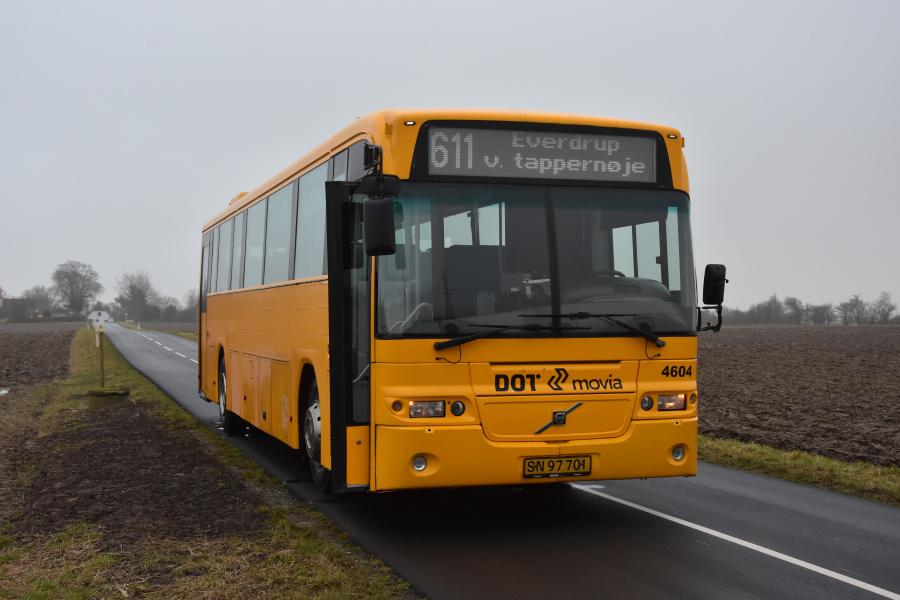 Ditobus 4604/SN97701 på Korskildevej i Tappernøje den 27. januar 2018