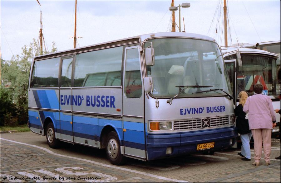 Ejvinds Busser OJ90739 ved Schiffbrücke i Flensburg i Tyskland den 22. juni 1996